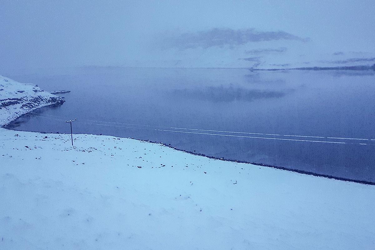 Ísing á raflínum í Álftafirði í maímánuði 2018