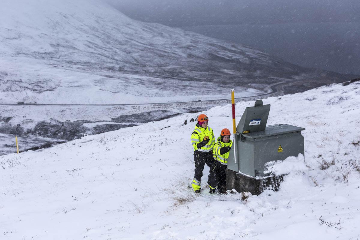 Starfsmenn vinnuflokks RARIK á Norðurlandi að störfum á Vaðlaheiði 2018