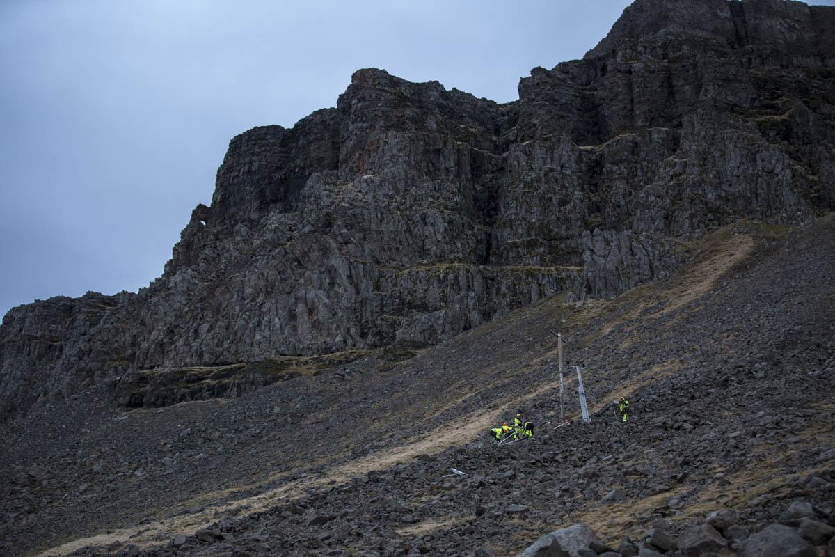 Verkstaður vinnuflokksins uppi á Þyrlinum