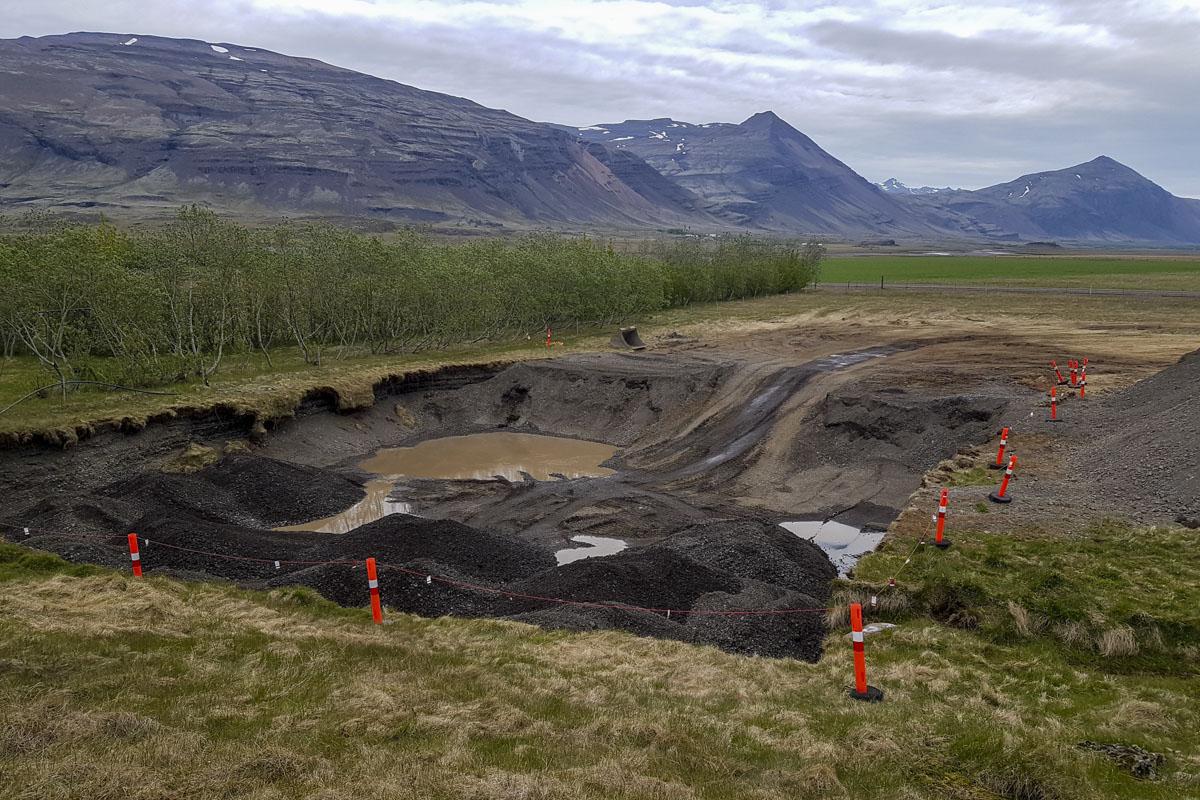 Grunnur að dæluhúsinu á virkjanasvæðinu við Hoffell.