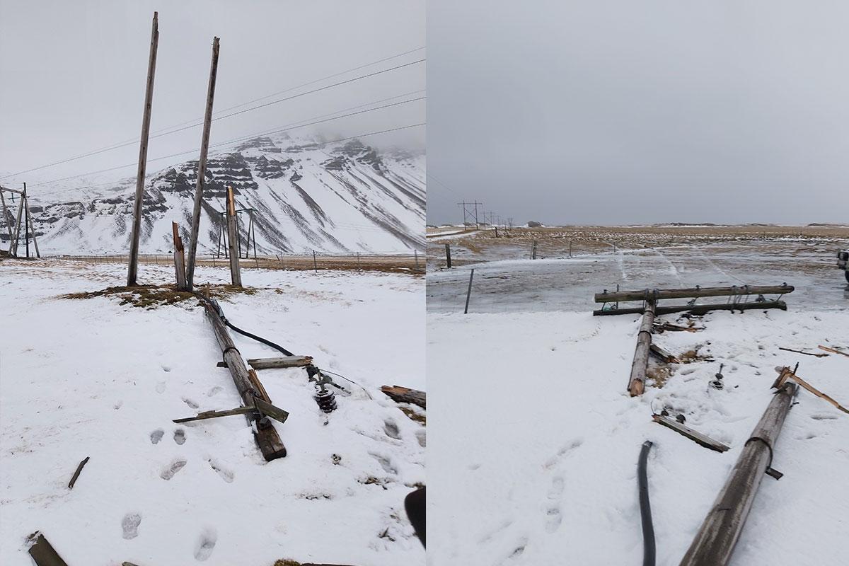 Endamastur á 11 kV línu sem liggur frá Hölum niður á Höfn sem brotnaði