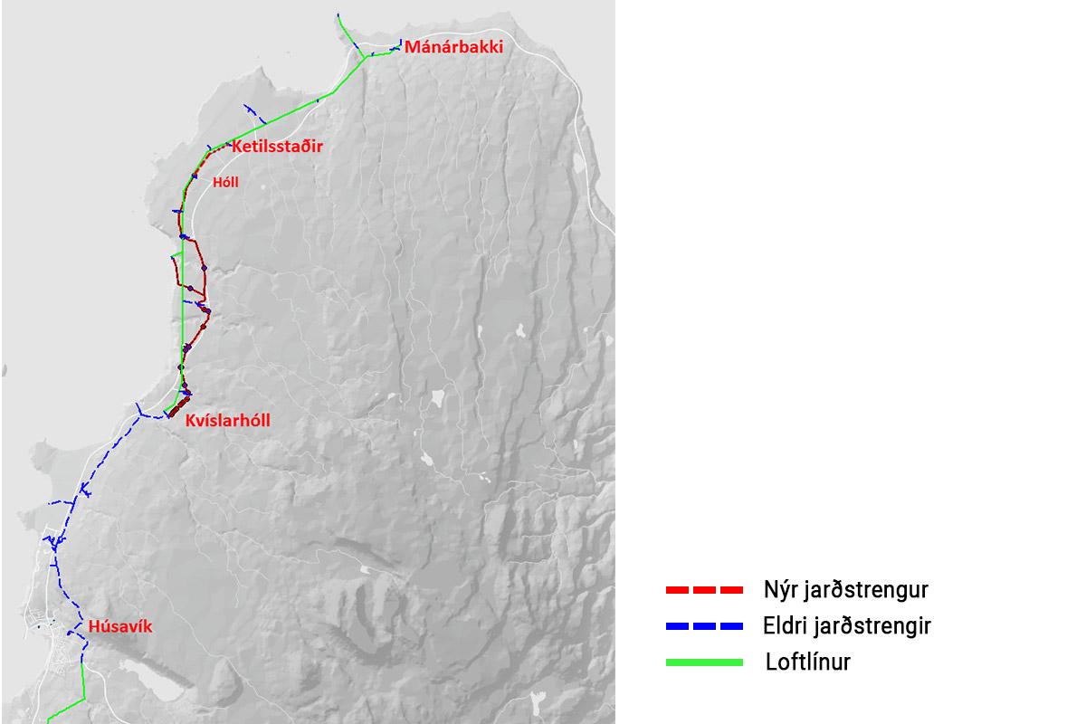 Lagnaleið jarðstrengs á Tjörnesi árið 2020