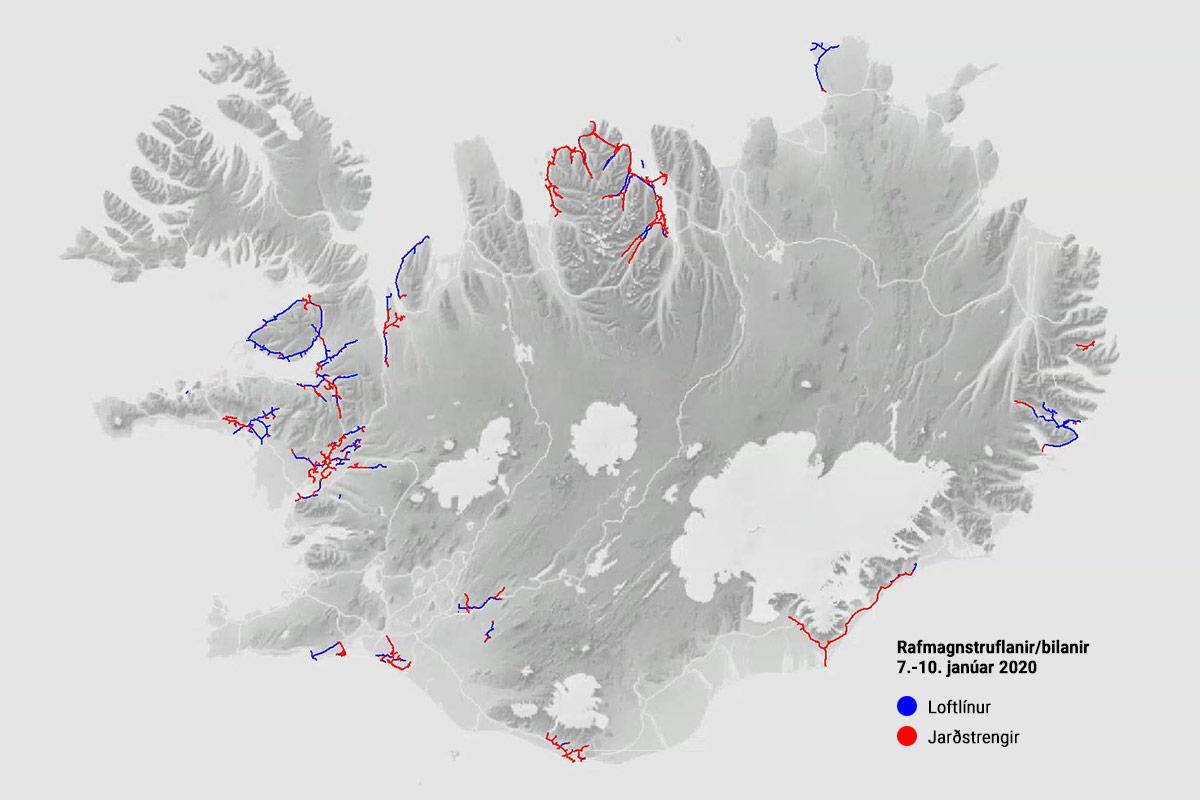 Rafmagnstruflanir 7.-10. janúar og afleiðingar þeirra