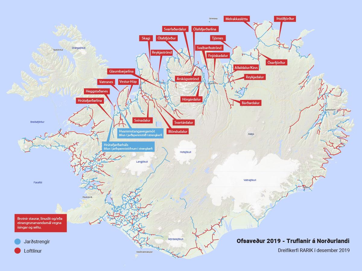 Truflanir í dreifikerfi RARIK á Norðurlandi