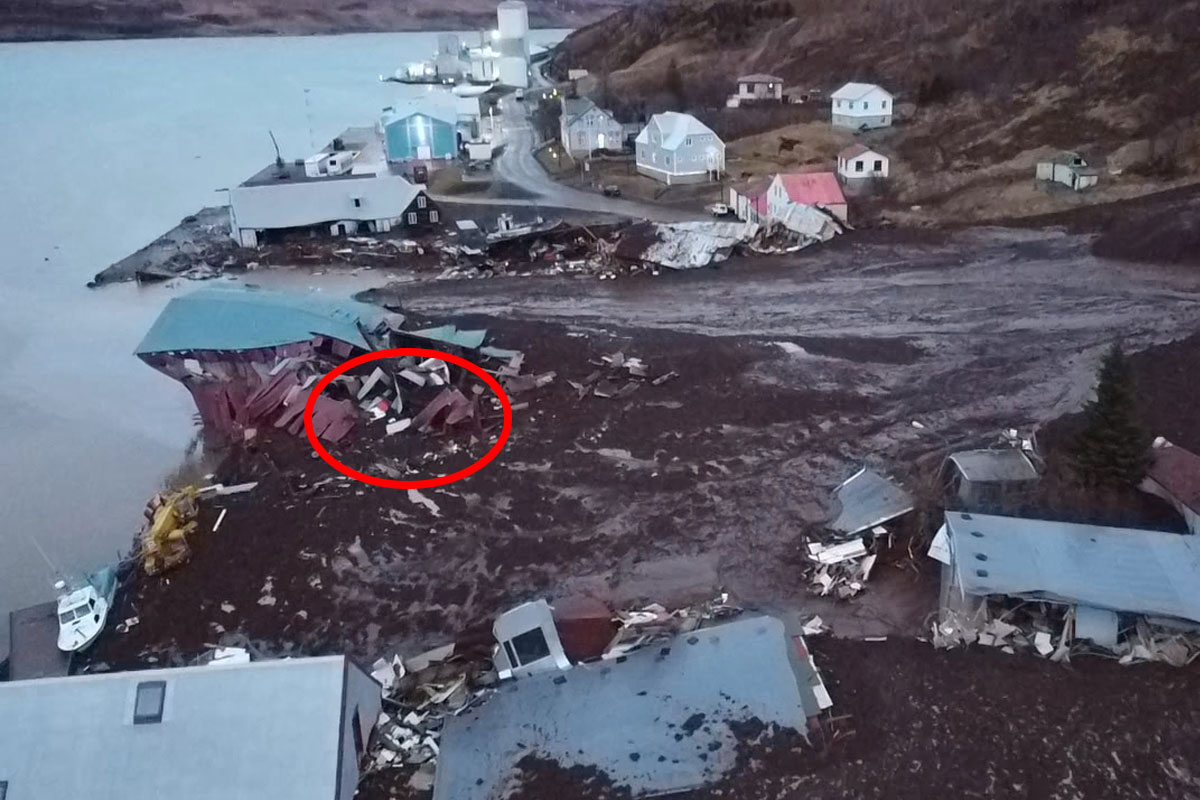 Á merkta svæðinu var spennistöð RARIK sem gjöreyðilagðist.